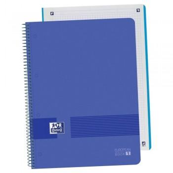 Cuaderno espiral A4+ 80 hojas 90 gr. 4 taladros tapa plástico cuadrícula 5x5 AZUL MARINO European 1